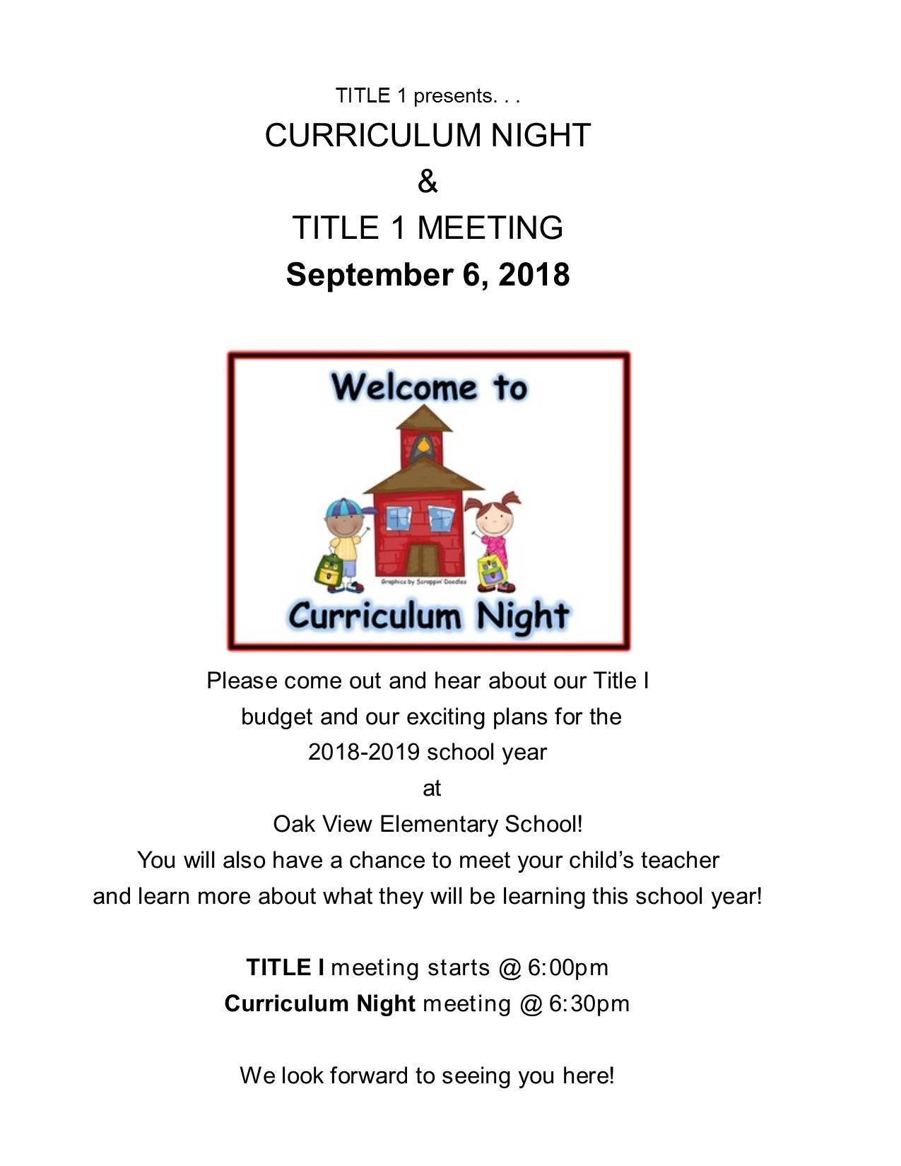 Title I Meeting and Curriculum Night Sep 9